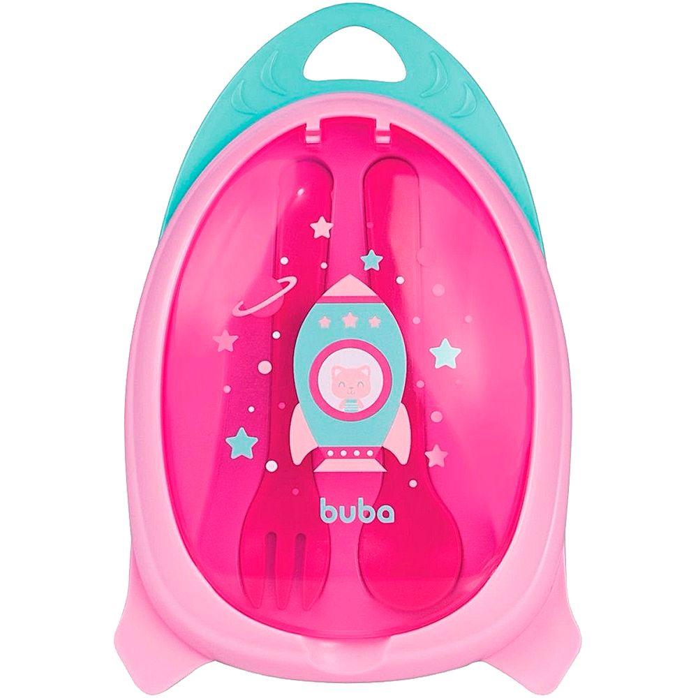 BUBA13515-A-Kit-Refeicao-Talher-com-Estojo-Foguete-Rosa-6m---Buba