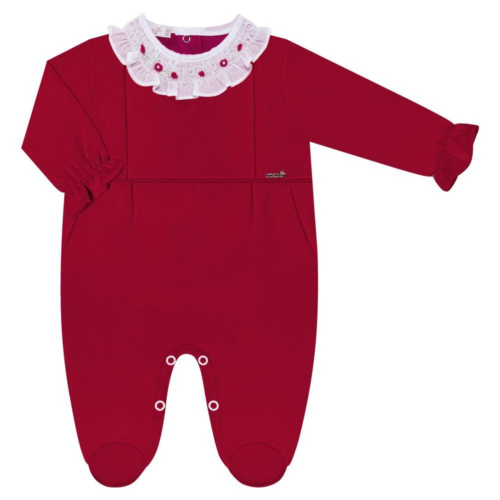 05711014007-A-moda-bebe-menina-macacao-longo-em-algodao-egipcio-florzinhas-vermelho-roana-no-bebefacil-loja-de-roupas-para-bebes