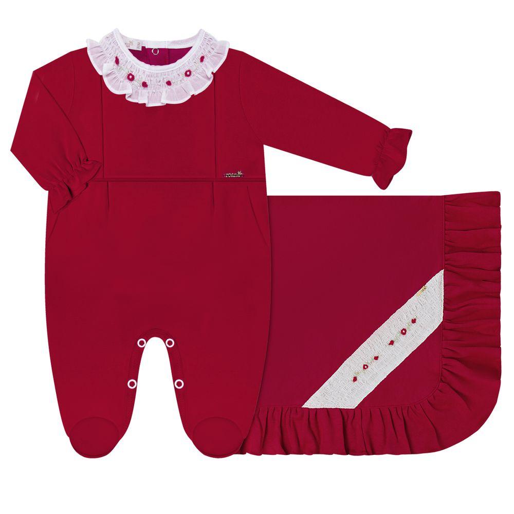 06811008007-A-moda-bebe-menina-saida-maternidade-macacao-longo-e-manta-babados-em-algodao-egipcio-florzinhas-vermelho-roana-no-bebefacil-loja-de-roupas-para-bebes