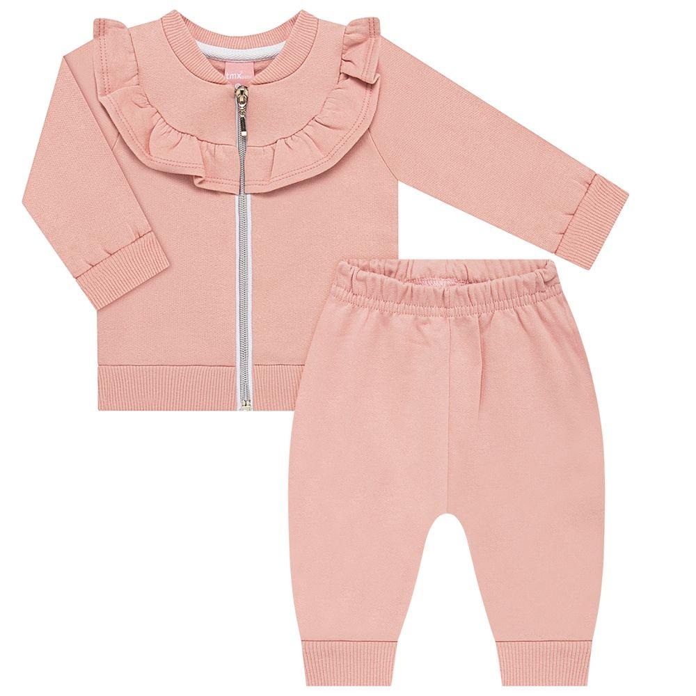 TMX0106-A-moda-bebe-menina-conjunto-casaco-babadinhos-com-calca-em-moletinho-rosa-cha-tmx-no-bebefacil