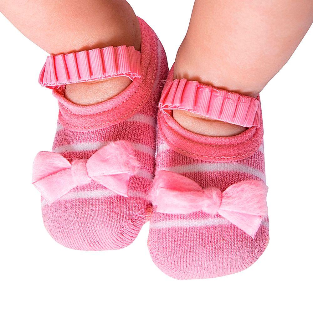 LK075.002-A-moda-bebe-menina-meia-sapatilha-listras-laco-rosa-leke-no-bebefacil