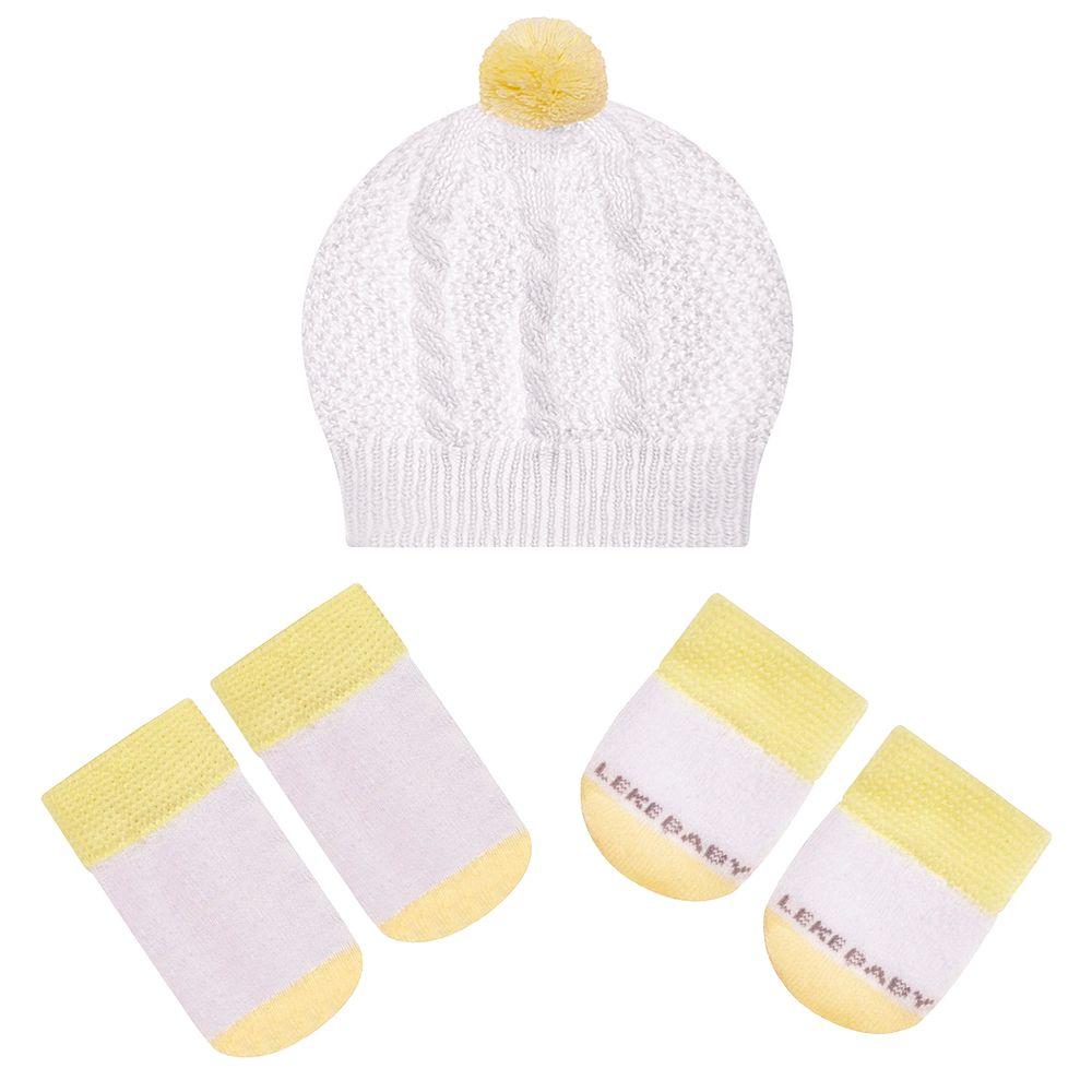 LK402.001-01-A-moda-bebe-menino-menina-acessorios-kit-touca-luva-sapatinho-em-tricot-amarelo-leke-no-bebefacil