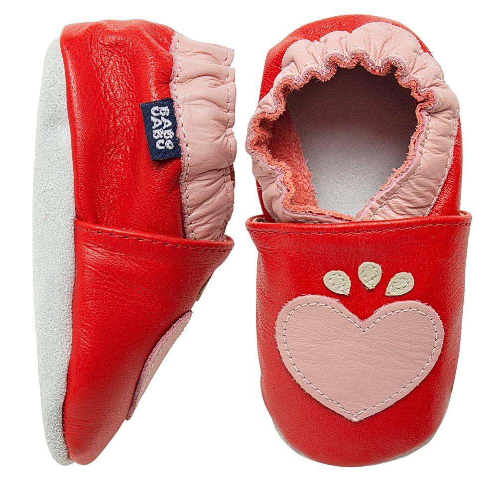 BABO101-A-Tenis-Coracao-para-bebe-em-couro-Eco-Vermelho-Rosa---Babo-Uabu