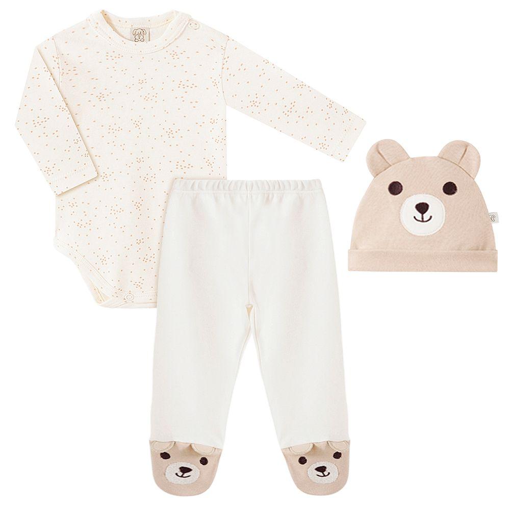 PL66793-A-moda-bebe-menina-menino-conjunto-body-longo-calca-touca-suedine-urso-pingo-lele-no-bebefacil
