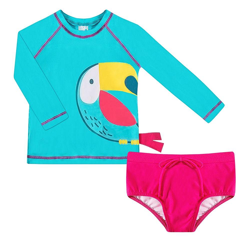 2445155-A-moda-praia-menina-conjunto-camiseta-surfista-calcinha-com-protecao-uv-fps50-tucano-colorido-tip-top-no-bebefacil