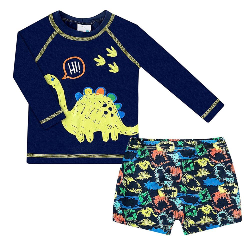 2445165-A-moda-praia-menino-conjunto-camiseta-surfista-shorts-com-protecao-uv-fps50-dino-tip-top-no-bebefacil